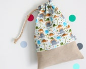 Drawstring pouch - cuddly toy bag - dinosaurs - kids - blue - green -kindergarden - slippers bag - toys bag - toddler gift