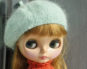 Babydoll Longhair Angola Wool Mint Beret for Blythe Doll