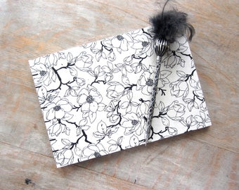 Guest Book, 7x10 Black Magnolias on Cream, unlined torn pages, Ready to Ship