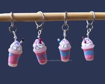 Specialty Drink Polymer Clay Stitch Markers set of 4 Miniature Sculpted Food Whipped Cream Straw Knit Crochet Accessories