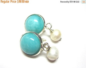 40% SALE Amazonite and Freshwater Pearl Clip On Earrings.  Gemstone Clip On Earrings. 10mm Round.