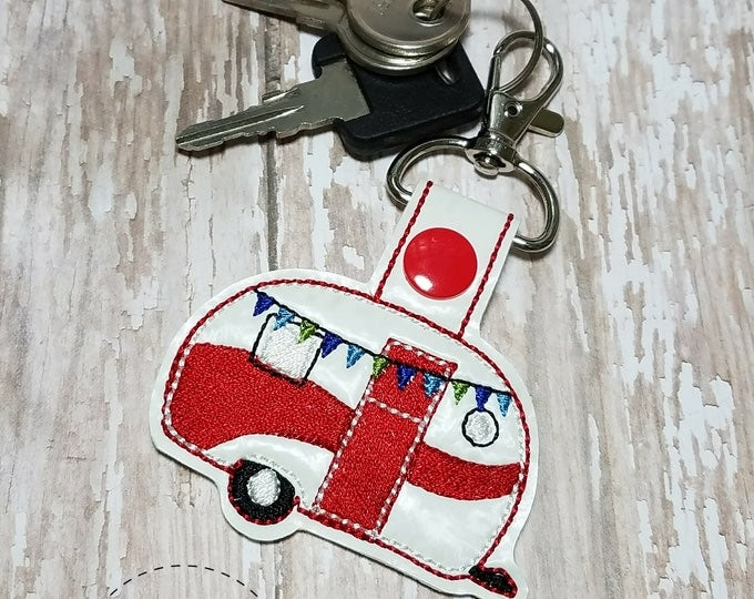 Camper Key Fob, Caravan Key Chain, Embroidered Camper Keychain, Vintage Trailer, Red Camper Trailer, Camping Gifts