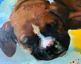 Boxer Puppy Portraits - Boxer Painting from your Photo - Pet Portraits