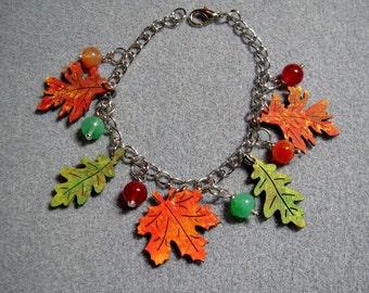 Autumn Leaves Maple Oak Handmade Wooden Beaded Adjustable Charm Bracelet 3B