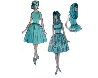 60s uncut Full Skirt Dress pattern vintage 31-24-33 XS Infinity Scarf pattern Fit and Flare Dress Cocktail Dress advance 3171