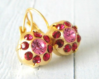 Swarovski Ruby and Rose Pink Cushion Cut Gold Leverback Earrings