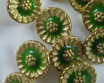 Vintage Assorted Gold Tone Buttons, Decorative Buttons with Shank