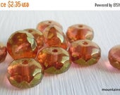 25% OFF Sale 10 Czech Glass Beads 11mm Rondelle Beads Topaz/Amber Luster
