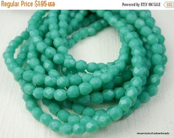 25% OFF Opaque Turquoise - 3mm Czech Glass Beads - Firepolished Faceted  (G - 26)
