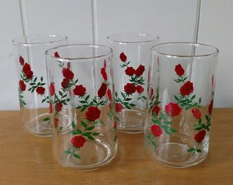 4 vintage rose glass tumblers