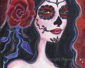 Catania Day of the Dead print tattoo style art red rose  By Renee L. Lavoie