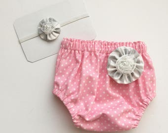 DIAPER COVER and HEADBAND set- pink and grey New baby -- baby girls clothing