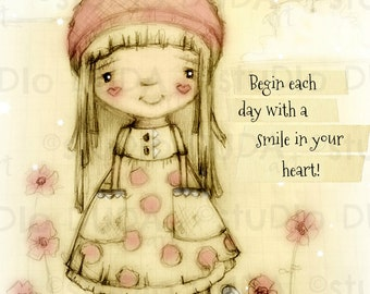 New!  Mini print/frameable greeting card  on velvety bright paper - Smiling Heart - 5x7 print