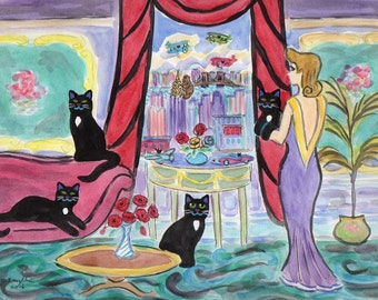 ORIGINAL PAINTING, Black Cats and their Momma with Poppies, KingKong, Chrysler Building trying to find the Empire State one, by D M Laughlin
