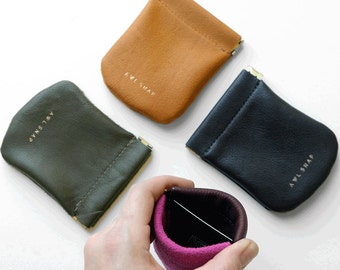 Small leather pinch pouch-The Pebble Pinch Pouch Leather Wallet by Awl Snap