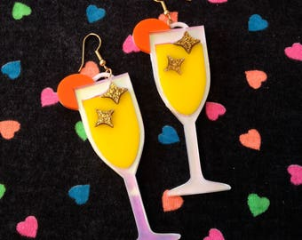 Brunch Mimosa Laser Cut Acrylic Earrings