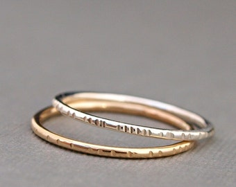 Simple Rings , Minimalist Rings , Mixed Metal Ring Set , Textured Ring , Everyday Ring