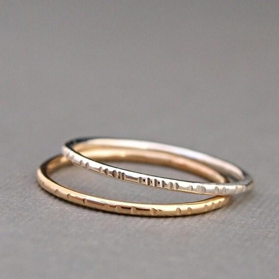 simple rings minimalist rings mixed metal ring set