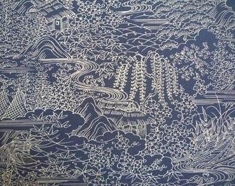 Silk Kimono Fabric, Light Blue Silk Kimono Fabric Chirimen Vintage Craft Supply Japanese Fabric Panel