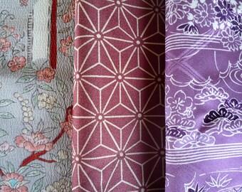 Vintage Kimono Silk Scrap, Set of 3 Japanese Textile Bandle, Purple Gray Mix, Craft Supply Fabric