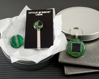 Circuit Board Gift Set, Computer Key Chain, Tie Bar, Magnet, Geeky Engineer Gift, Nerdy Computer Engineer, Wearable Technology, Grad Gift