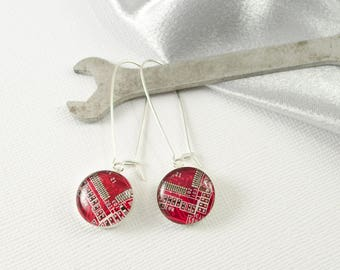 Circuit Board Earrings Red, Sterling Silver Dangle Earrings, Wearable Technology, Geek Gift, Geek Earrings, Computer Engineer Earrings