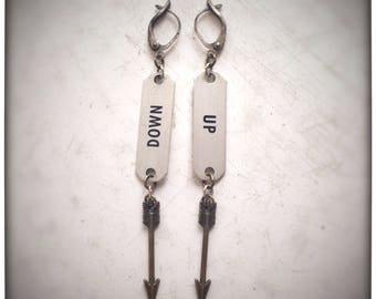 Up & Down Vintage Locker Tag and Arrow Earrings