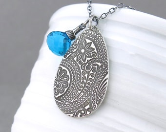 Teal Gemstone Necklace Silver Charm Necklace Teal Gemstone Jewelry Silver Necklace Women's Gift Under 75 Modern Jewelry - Solo