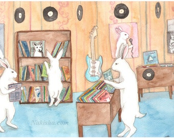 RESERVED for LS - Original Art - Used Record Store - Watercolor Rabbit Painting