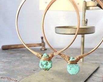 Extra Large Hoop Earrings with Stone, Large Turquoise Hoop, Hammered Hoop, XXL Hoops, 3 Inch Hoops, Turquoise Hoops