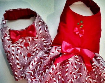 Dog Vest and dress: Candy Canes Holiday Boy Dog Clothes Girl Dog dress