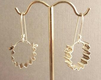 Sterling Silver Shiny Corrugated Hoop Earrings