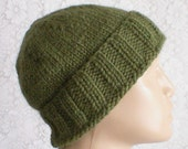 Reserved Order for ON - Watch cap, slouchy hat, brimmed, light olive green, knit toque, alpaca hat, winter hat, ski snowboard, men women hat