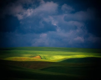 Palouse Hills Photo, Rural Landscape Photography, Light and Shadow, Stormy Skies, Agriculture, Palouse Fine Art, Washington State, Gift Idea