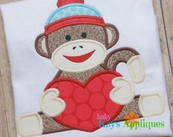 Sock Monkey with Heart Applique Design 4x4, 5x7, 6x10, 8x8