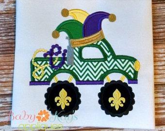 Mardi Gras Truck Applique Design 4x4, 5x7, 6x10, 8x8
