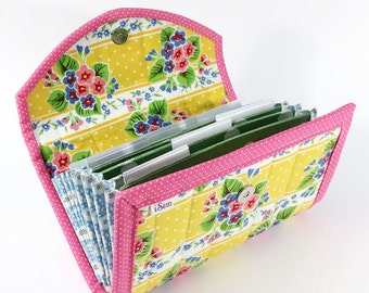 COUPON / EXPENSE / RECEIPT Organizer - Shabby Yellow Floral - Coupon Organizer Coupon Holder Cash Budget