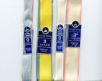 Four (4) Different Lengths of Vintage Woven Rayon Ribbon about (9) yards total Vintage Destash Lot Kit  3751