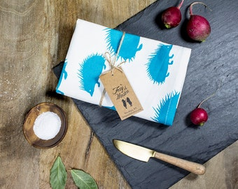 Teal Hedgehog Tea Towel - GOTS Certified Dish Towel - Organic Cotton Kitchen Towel - Hedgehog - Tea Towels - Dish Towels