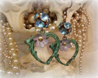 faerieality one of a kind vintage assemblage earrings verdigris hearts vintage baby blue rhinestones smoky lavender enamel bead caps