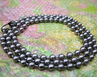 Antique Silver 5MM Ball Chain with Clasp - 24 Inch