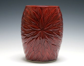Red Vase, Radiating Flower Design, Maroon Vase, Ceramic Vase, Home Decor, Handmade Pottery