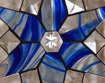 Stained Glass Ice Blue Star