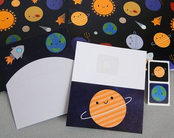 Solar System Gift Wrap Set with tags and stickers - Kawaii Planets in Space