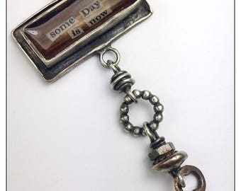 Some Day is Now Inspirational Rustic Vintage Key Necklace