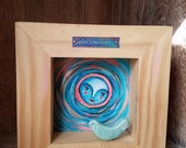 Dreamer Moon / Mixed Media Shadow Box Painting