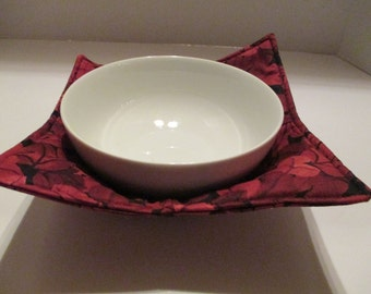 Microwave bowls, burgundy leaves, kitchen, dining room, home and living, microwave hot pad, microwave safe, bowl holder, hot pad, table