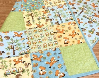 SALE Baby Quilt Adorable Foxes and Owls Woodland Boy Girl Gender Neutral Nursery Crib Bedding