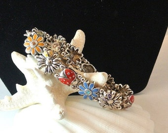 25% OFF Ladybugs and Flowers Bracelet, Silvertone Bracelet, Red Ladybug Stretchable Bracelet, Blue Yellow Flowers, Christmas Gift