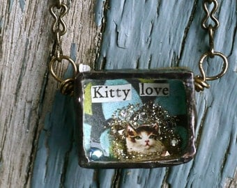 Urban Reliquary - Kitty Love - Necklace Mixed Media Ooak - Oh my pretty kitty -